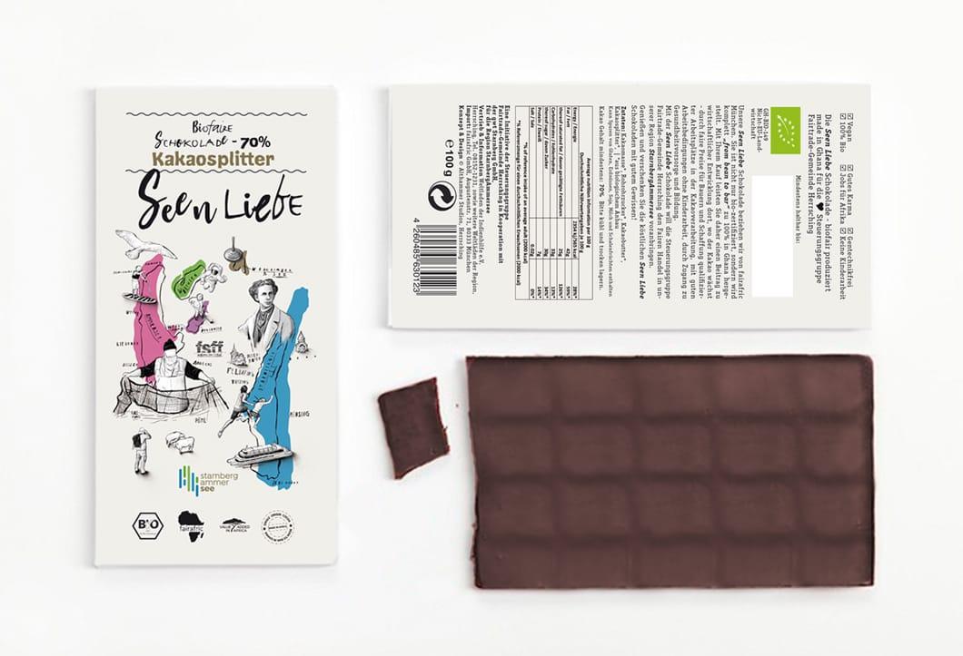 Seen Liebe Schokoladentafel fairafric Verpackungsdesign Althammer Studios